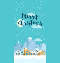 Christmas winter vertical landscape with vector