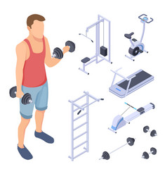 Coach and fitness equipment isometric gym vector