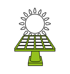 Color silhouette image cartoon solar energy panel vector