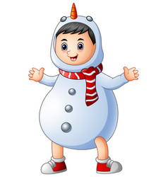 cute little boy wearing christmas snowman costume vector image