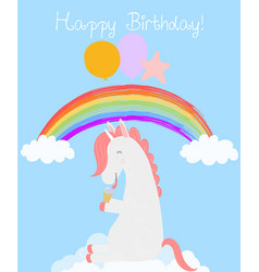 Cute unicorn with balloons eat ice cream birthday vector