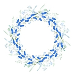 Detailed contour wreath with muscari and herbs vector image