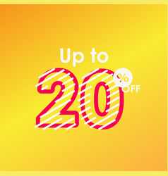 Discount up to 20 off label sale line logo vector