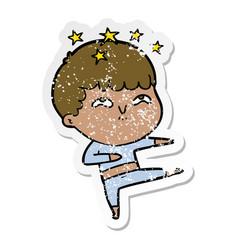 Distressed sticker of a cartoon amazed boy vector