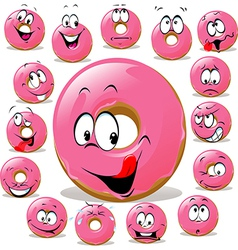 Donut cartoon with many facial expression isolated vector image