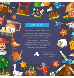 Farm day flyer of modern flat design farm and vector image