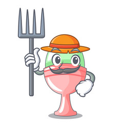 Farmer boiled egg cup isolated on mascot vector