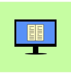 Flat style computer with book vector