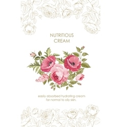 Flower garland and invitation card vector