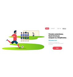 Football match free kick with opposing player set vector