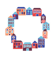Frame with round houses modern flat hand drawn vector