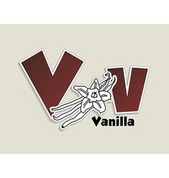 Fruits and vegetables alphabet - letter V vector image