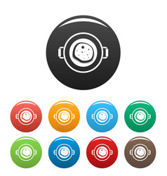 Fry food pan icons set color vector