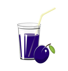 glass with plum juice vector image