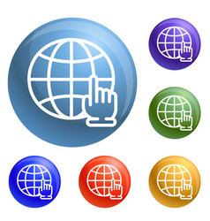 global hand click icons set vector image