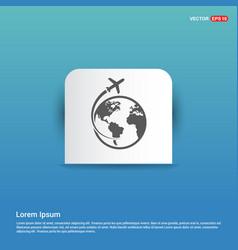 globe icon - blue sticker button vector image