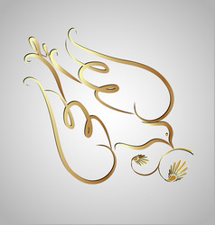 gold dove swirly silhouette icon vector image