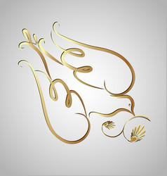 Gold dove swirly silhouette icon vector