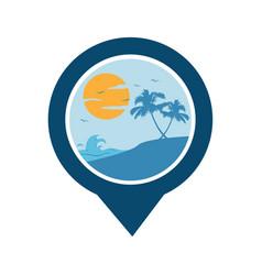 Gps beach logo vector