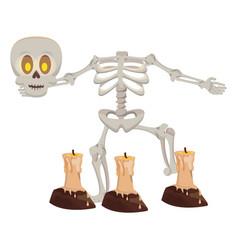 Halloween skeleton bones character with candles vector