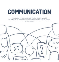 hand draw dialog speech bubbles communication line vector image