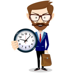 Happy businessman holding big clock concept of vector