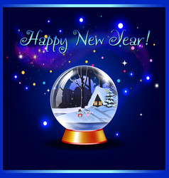 happy new year greeting card of snow crystal vector image