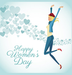 Happy womens day card fun girl with blue hearts vector