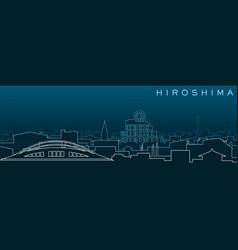 Hiroshima multiple lines skyline and landmarks vector