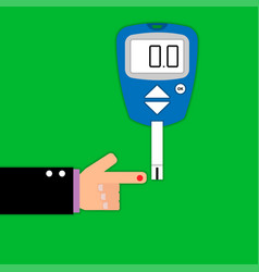 home glucometer with hand in flat style vector image