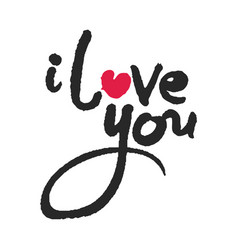 i love you calligraphy lettering with red heart vector image