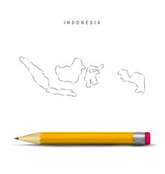 Indonesia freehand sketch outline map isolated vector