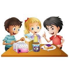 Kids preparing their snacks vector image