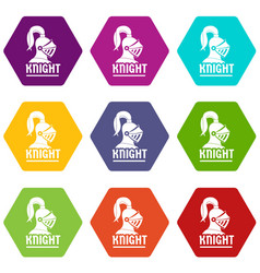 Knight helmet icons set 9 vector