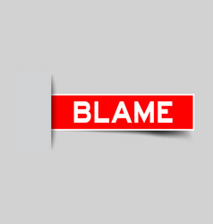 Label sticker red color in word blame that vector