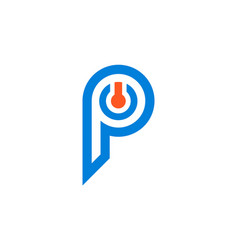 letter p power logo icon vector image