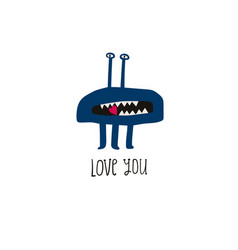 love greeting card with cute spooky monster vector image