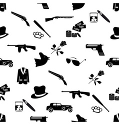 Mafia criminal black symbols and icons seamless vector