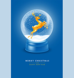 magic snow globe with golden statuette jumping vector image