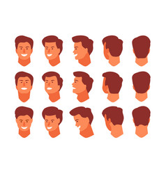 Male head from different angles vector