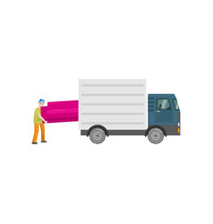Man loads a big pink sofa in the trunk of a truck vector