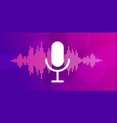 microphone on violet background vector image