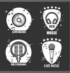 music labels headphone microphone and vector image