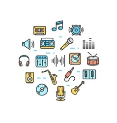 Music Round Design Template Thin Line Icon vector