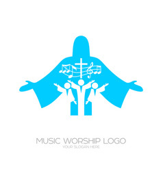 Musical worship in christ jesus vector