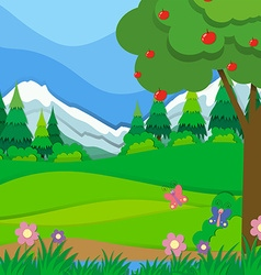 Nature scene with apple tree and field vector