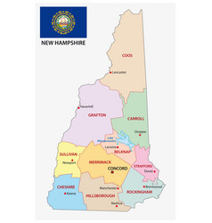 new hampshire administrative map with flag vector image