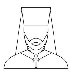Orthodox priest icon outline style vector