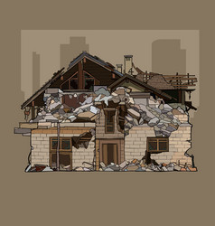 painted ruined a two storey brick house vector image