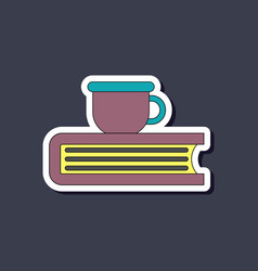 Paper sticker on stylish background book cup vector
